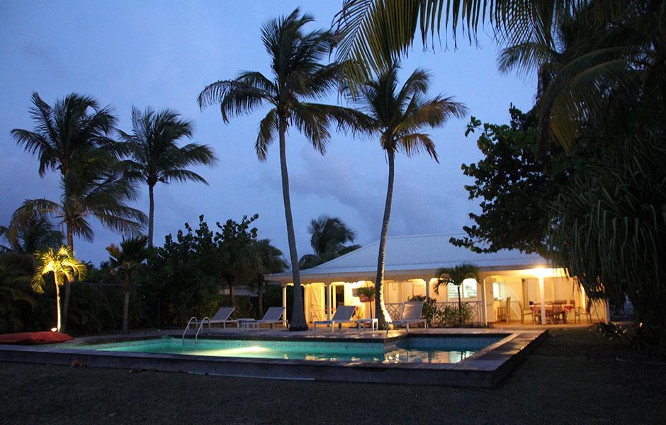 La villa Caraïbes de nuit