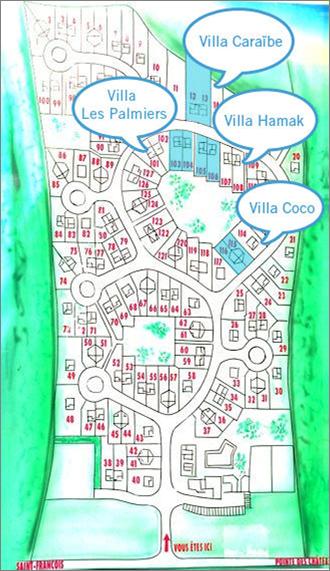 Plan des villas dans la résidence Karukera - Villas Caraïbes - Location de maison en Guadeloupe