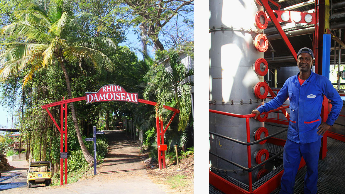 Entrée & Colonne de distillerie - Rhumerie Damoiseau - Villas Caraïbes - Location de villas et maisons en Guadeloupe - www.villacaraibes.fr
